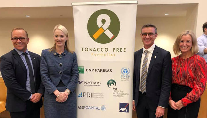 Pictured above from left to right: Adam Kirkman, AMP Capital Head of ESG,  Dr Bronwyn King, Tobacco-Free Portfolios, Adam Tindall, AMP Capital CEO, and Dr Rachel Melsom, Tobacco-Free Portfolios.